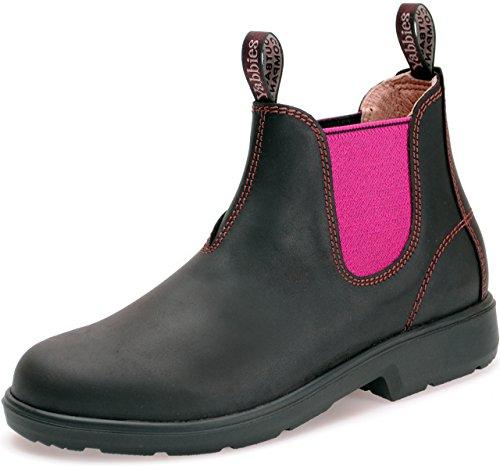 Yabbies Town & Country Chelsea Boots   Australian Style   Dark Brown - Pink   (UK 1 / EU 33.0, Dark Brown/Pink)