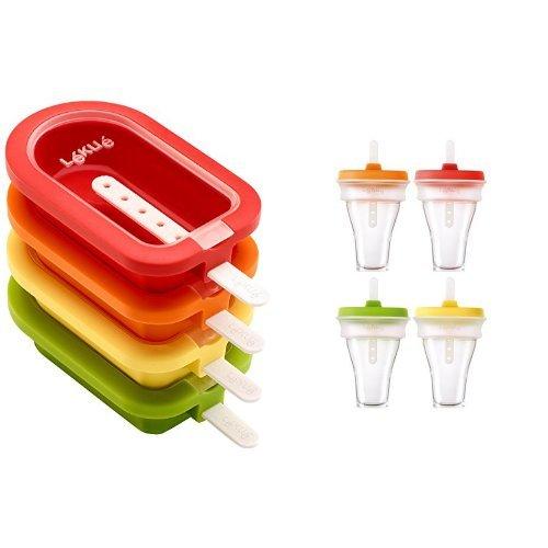 Lékué - Polos apilable, cuatro unidades, multicolor + Moldes para helados, cuatro unidades, multicolor