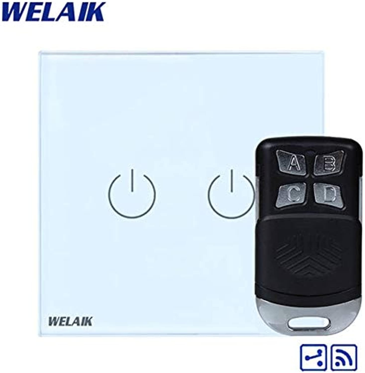 WELAIK Glass Panel Switch White Wall Switch EU Remote Control Touch Switch Screen Light Switch 2gang2way AC110250V A1924W BR01  (color  White)