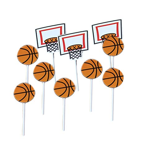 Amosfun Cartoon Basketball Muster Kuchen Topper Basketball Thema Party Cupcake Topper Picks Kinder Geburtstag Familie Party Dekoration Lieferungen (18x Basketball + 6X Basketballkorb) 24 Stücke