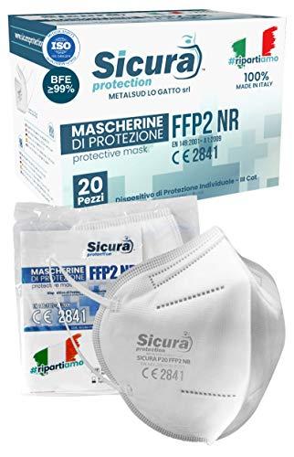 Eurocali 20 Mascherine FFP2 Certificate CE - Made in Italy - BFE ≥99% - Mascherina SANIFICATA per abbattimento Carica batterica e sigillata singolarmente. Prodotta e Confezionata in Italia