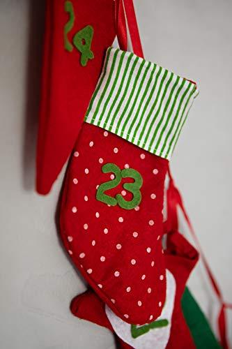 Heitmann Deco Adventskalender Kette zum Befüllen und Aufhängen - Filz-Adventskalender - Weihnachts-Motive - Rot, Grün