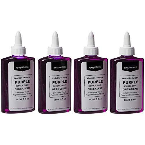 Amazon Basics Purple Washable Liquid School Glue Dries Clear 5 oz Bottle 4Pack