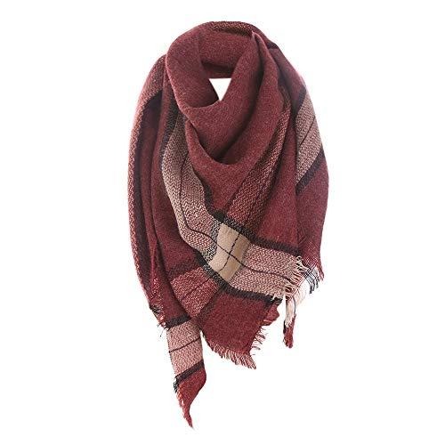 GreatestPAK Damen Schal Spleißen Plaid Nachahmung Kaschmir Wilde Lätzchen Winter Warme Lange Wolle Gedruckt Weiche Halstuch