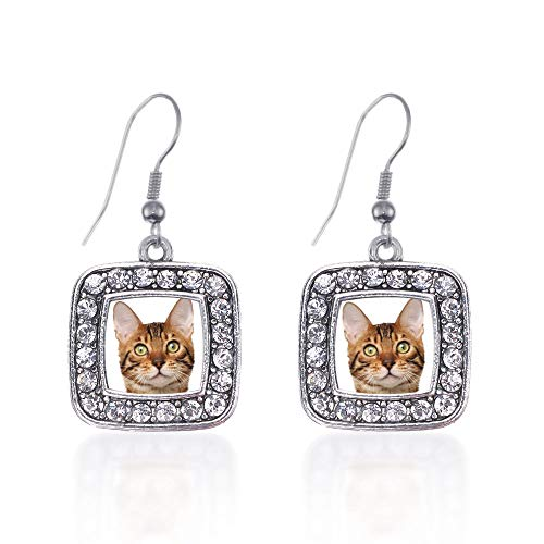Inspired Silver - Bengal Cat Charm Earrings for Women - Silver Square Charm French Hook Drop Earrings with Cubic Zirconia Jewelry