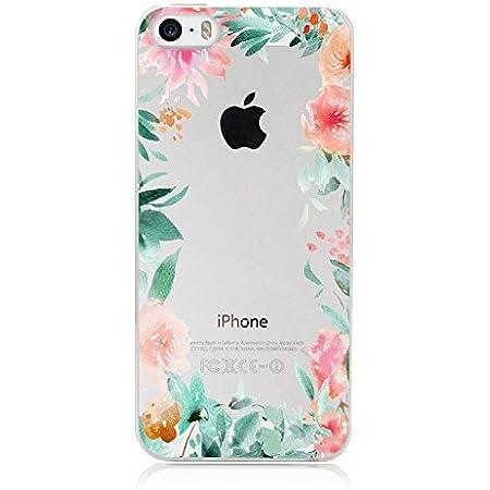 Coque Transparente iphone 5 5s Se Fleur 15 Fleur Rose Vert Pastel Tropical Silicone Gel
