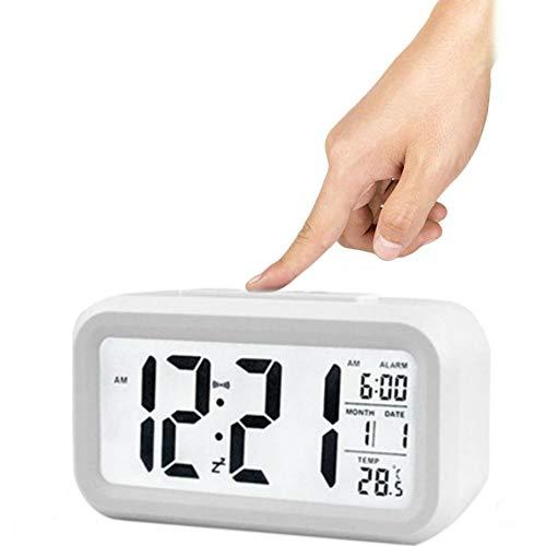 Winnes Wecker Digital, Großer HD Bildschirm Intelligente Nachtlicht Wecker Alarm Clock Für Kinder Jugendliche Mode Junge LED Hintergrundbeleuchtung Display LCD Digital Elektronische Wecker(Weiß)