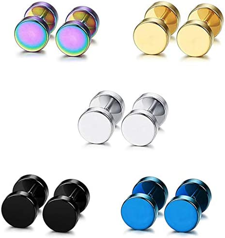 WEILYDF 5 Pairs Stainless Steel Earrings Minimalist Style Round Stud Earrings for Women Men product image