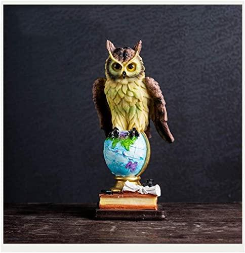 Productos para el hogar Feliz decoración del hogar búho de Resina Sala de Estar Mueble de TV Estatua Decorativa símbolo de Inteligencia y sabiduría marrón-Negro