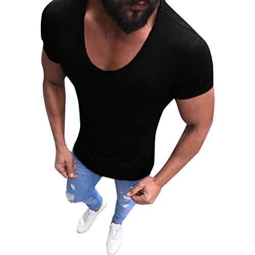 Yowablo Herren Poloshirt Polohemd Stehkragenshirt Kurzarmshirt Funktionsshirt Sportshirt Fitness Shirt Tee T-Shirt Sporthemd Trainingsshirt Sportswear T-Shirt (L,Schwarz)