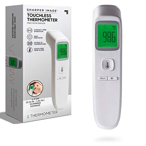SHARPER IMAGE Digital Touchless Smart Forehead Thermometer, High-Precision Infrared Sensors, Stores 35 Readings, Touch-Free Temp Scans, Battery Powered, Built-in LED Glow Light