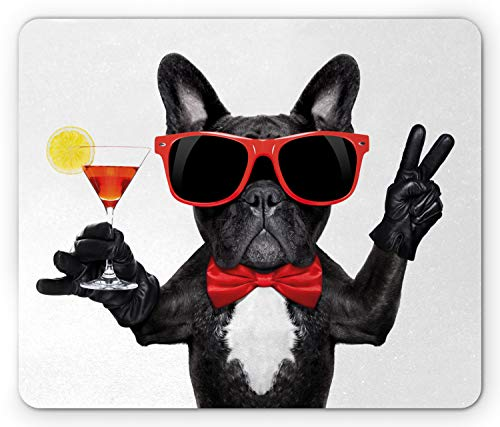Lunarable Funny Mouse Pad, French Bulldog Holding Martini Cocktail Ready for The Party Nightlife Joy Print, Rectangle Non-Slip Rubber Mousepad, Standard Size, White Black
