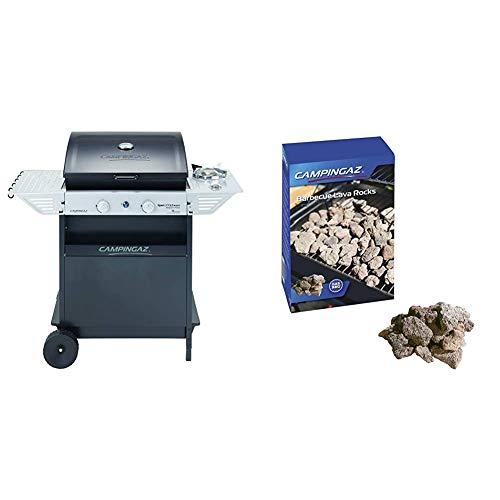 Campingaz Xpert 200 LS Rocky Barbacoa gas piedra volcanica, parrilla gas con 2 quemadores compactos, 8.2 kW de potencia, 2 parrillas de hierro fundido + 205637 - Piedras lava, 3 kg