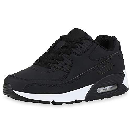 SCARPE VITA Damen Herren Sportschuhe Laufschuhe Profilsohle Freizeit Sneaker Leder-Optik Schuhe Schnürer Fitness 186118 Schwarz Black Total 38