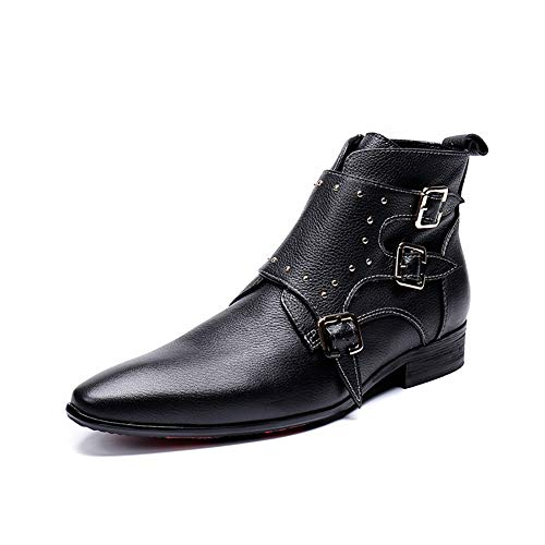 Story of life Business Casual Chaussures Hommes Martin Boot Men Pointu Augmenter La Hauteur Chevalier Bottillons Bottines Mode,Noir,38