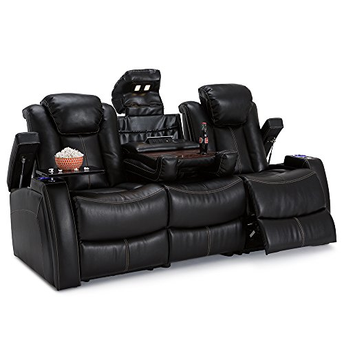 Seatcraft Omega Home Theater Seating - Leather Gel - Power Recline - Power Headrests - AC and USB Charging - Lighted Cup Holders - Fold Down Table (Sofa, Black)