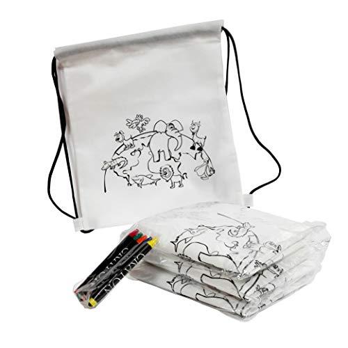 FUN FAN LINE® - Set de 30 Mochilas Infantiles para Colorear con diseño de animalitos. Ideal para Fiestas de cumpleaños Infantiles ¡Incluye Ceras de Colores de Regalo!