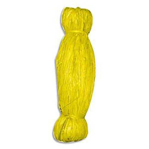 10 Bobines de 50g de raphia végétal coloris Jaune, longueur non standardisée de 1 à 1,20m