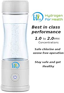 Hydrogen Water Bottle with PEM Dual Chamber Technology, USB Charging and Glass Bottle. Chlorine and Ozone Free Operation 2019 New
