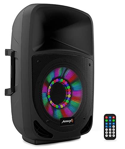 Audibax, Altavoz VEGAS 8' - Altavoz Profesional, Altavoz Bluetooth con USB/SD, Potencia 80 W RMS, 200 W de Pico, Radio FM, Efectos Lumínicos LED, Color Negro, Medidas 295 x 245 x 445 mm