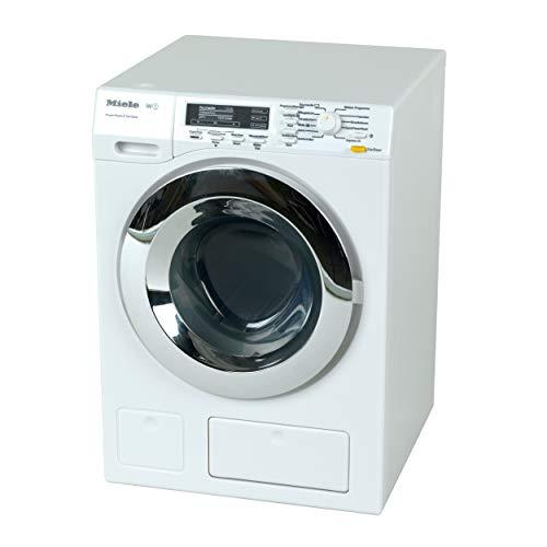 Theo Klein 6941 Miele Waschmaschine I Vier Waschprogramme und Originalgeräusche I Funktioniert mit und ohne Wasser I Maße: 18,5 cm x 26 cm x 18 cm I Spielzeug für Kinder ab 3 Jahren, Weiss