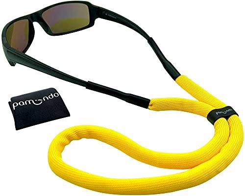 pamindo Brillenband schwimmfähig für Wassersport & Freizeit - Sportbrillenband für Damen, Herren & Kinder - schwimmend & sicherer Halt in signal-gelb
