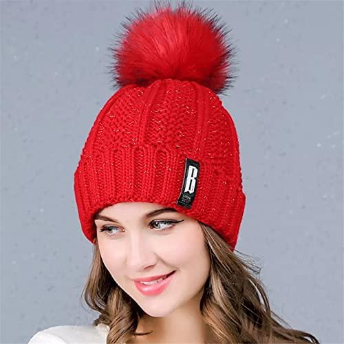 Dingyi Sombreros de Terciopelo de Invierno para Mujer, Gorros con Letras a Prueba de Viento, Gorros de Punto cálido para Mujer Dulce, Gorro de Cabeza con puño de Bola de Mapache de imitación