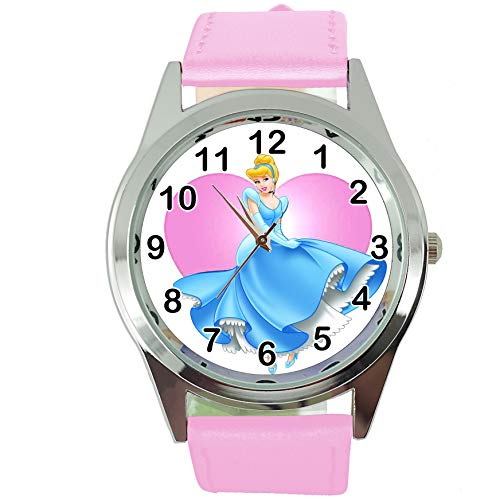 TAPORT Cinderella Quartz Watch Pink Leather Band Disney + Spare Battery + Gift Bag