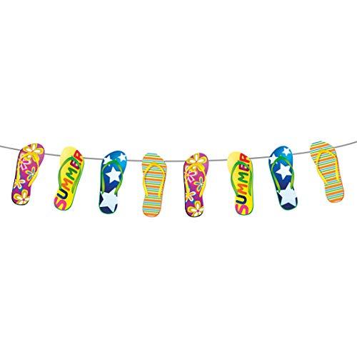 Witzige Party-Girlande mit Flipflops zum Aufhängen / 10m / Farbenfrohe Wimpelgirlande mit Badelatschen / Genau richtig zu Gartenparty & Beachparty