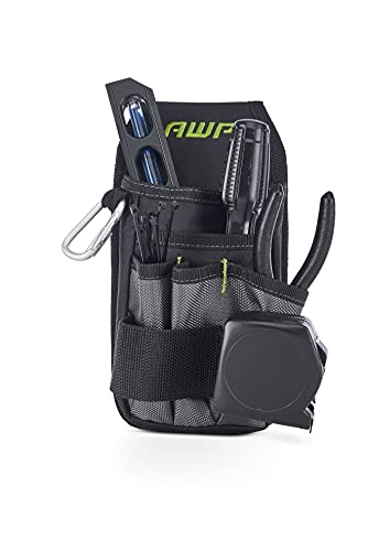 AWP Organizer Tool Pouch 7 pockets and loops for tool organization Includes tunnel loop and durable metal belt clip, black and gray