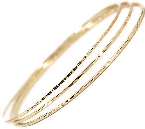 14k gold filled Bangles hammered slip on set of 3 textures, Mu-Yin Jewelry Handmade in USA sz M MEDIUM