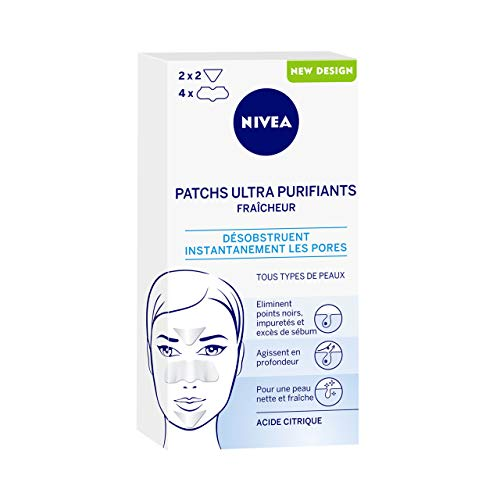 NIVEA Patchs Ultra Purifiants Fraîcheur (1 x 6 patchs), Patchs enrichis en Acide Citrique anti points noirs & impuretés, Patchs Nettoyants pour tous types de peaux