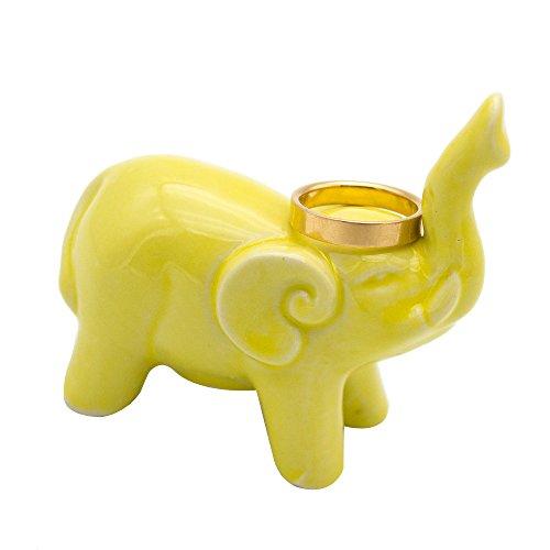 Fans Face Yellow Ceramic Baby Elephant Ring Holder, Engagement Wedding Rings Dish Tray Home Decor Trinket