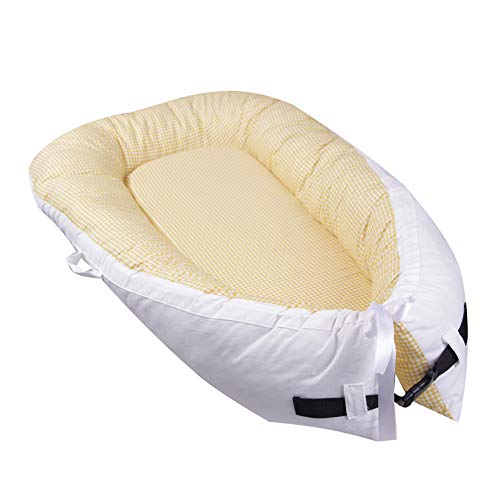 HLSUSAN Newborn Baby Lounger Multifunctional Baby Nest Comfortable Breathable Sleep Nest Pod 0-14 Months Portable Travel Cot Bionic Bed 80×50cm,B