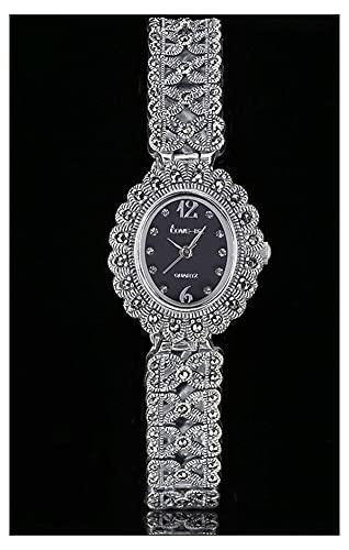 CHXISHOP Reloj de Pulsera de Mujer 925 Sterling Silver Vintage Reloj de Cuarzo Movimiento Oval Dial Inlaid Diamond Gothic Watch Black-S