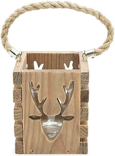 Euro Souvenirs - Lanterna decorativa a forma di testa di cervo, in legno, decorazione per corna alpina, stile casetta
