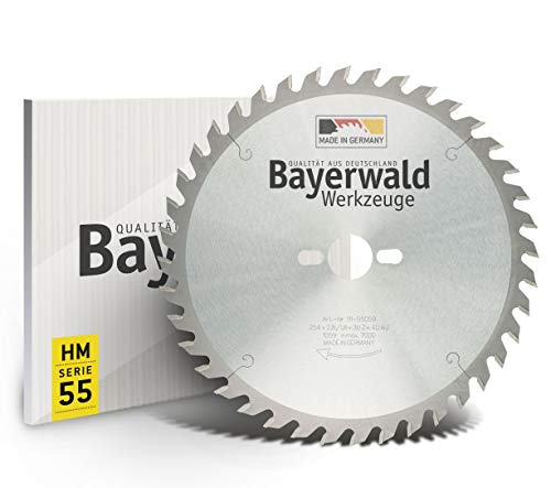 Bayerwald - HM Tischkreissägeblätter - Ø 254 mm x 2,8 mm x 30 mm | Wechselzahn | Kombinebenlöcher für Bosch GTS 10 & PTS 10 (40 Zähne)