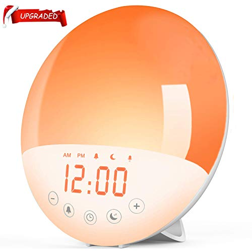 Wake Up Light Alarm Clock,Sunrise Alarm Clock with Sunrise/Sunset Simulation & White Noise Sleep Aid,7 Colors Atmosphere Lamp,8 Natural Sounds & Voice Recorder,FM Radio,Snooze for Kids Adults Bedroom