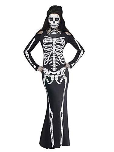 ShallGood Halloween Mujer Negro Hueso Esqueleto Mono Ajustado Adultos Disfraz Cosplay Manga Larga Vintage Disfraz Zombie Fantasma Halloween Carnaval D Negro ES 38