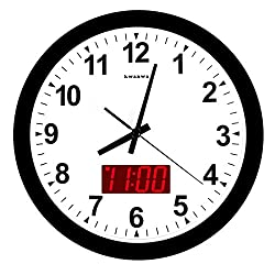 KWANWA 12 Metal Frame Quartz LED Analog Wall Clock Battery Operated Only with Non Ticking Silent Quiet Sweep Second Hand and Big 1.2'' LED Time or Temperature Display