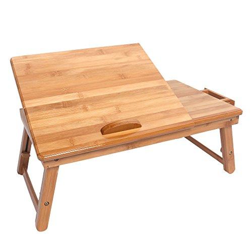 Lap Desk Laptop Stand per letto e divano, scrivania per adulti, vassoio per computer portatile, tavolino ecologico in bambù, vassoio da tavolo con gambe