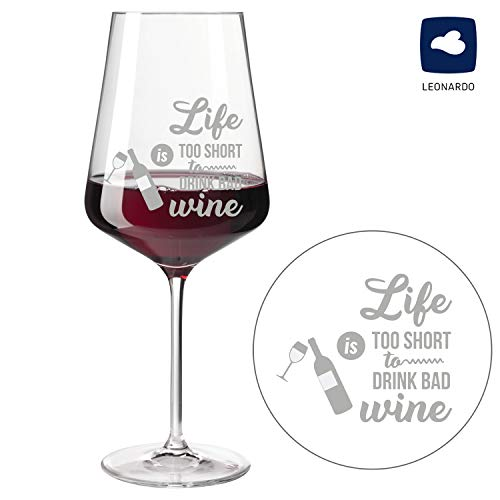 SNEG Weinglas mit Motiv - Life is Too Short to Drink Bad Wine | Rotweinglas | Weißweinglas | personalisierbar (fertiges Motiv, Rotweinglas)