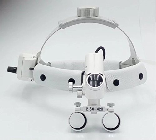 Dental 5W LED Surgical Headlight 2.5X420mm Leather Headband Loupe with Light DY-105 White by SuperElight