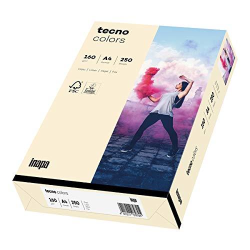 Inapa farbiges Druckerpapier, buntes Papier tecno Colors: 160 g/m², A4, 250 Blatt, hellchamois