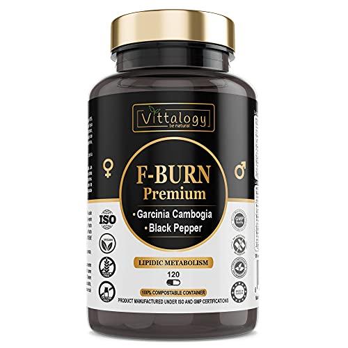 Vittalogy F-Burn Premium. Quemagrasas Potente Con Garcinia Cambogia, Té Verde Y Guaraná. Fat Burner Rápido Y Efectivo Para Adelgazar Con Efecto Termogénico. Sin Aditivos. Vegano. 120 Cápsulas