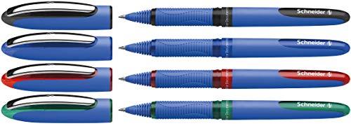 Schneider One Hybrid C 03 Tintenroller (dokumentenecht mit 0,3 mm Strichstärke und Hybrid-Konusspitze) 4er Etui schwarz, blau, rot, grün