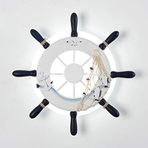 Wandleuchte Modern Innen LED Wandlampe Kreative Schiff Steuermann Mediterranen Wandbeleuchtung für Wohnzimmer Schlafzimmer für Wohnzimmer, Schlafzimmer, Nachttisch (Weiß)