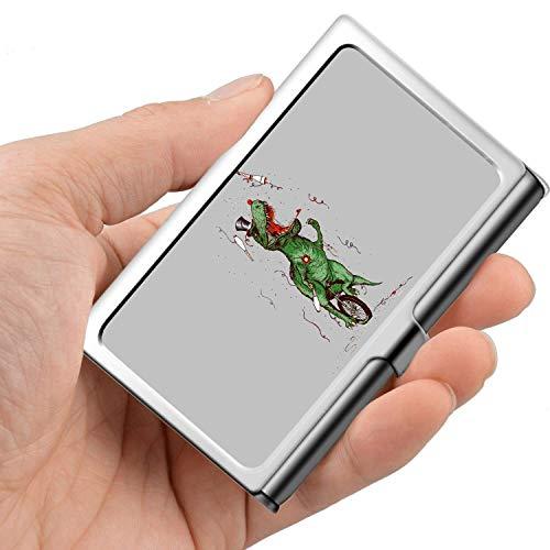 Biglietto da visita professionale, Portafoglio in acciaio inossidabile Porta carta di credito Porta tessera T-Rex Equitazione Monociclo