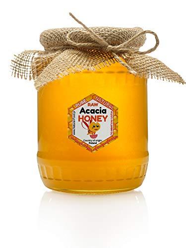 Miel de acacia fresca de Polonia | 1,1 kg | Sin pasteurizar, miel cruda | Hecho por abejas | Tarro de cristal