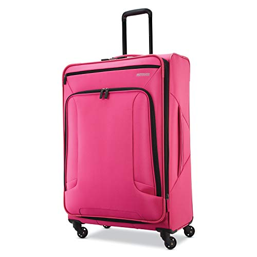 american tourister cheap luggages American Tourister 4 Kix Expandable Softside Luggage with Spinner Wheels, Pink, Checked-Large 28-Inch